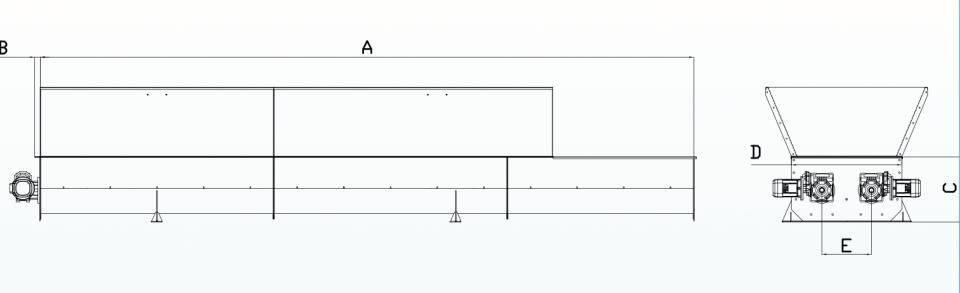 схема двойного шнекового конвейера с валом или без вала