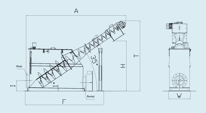 схема шнековой решетки без уплотнителя с баком