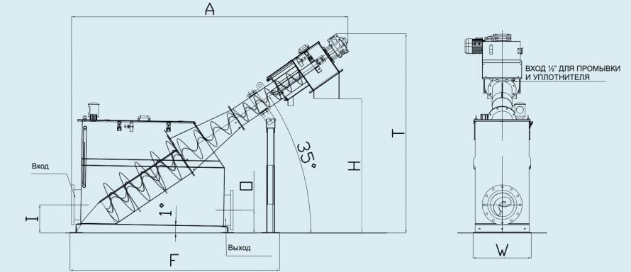 схема шнековой решетки с уплотнителем и баком