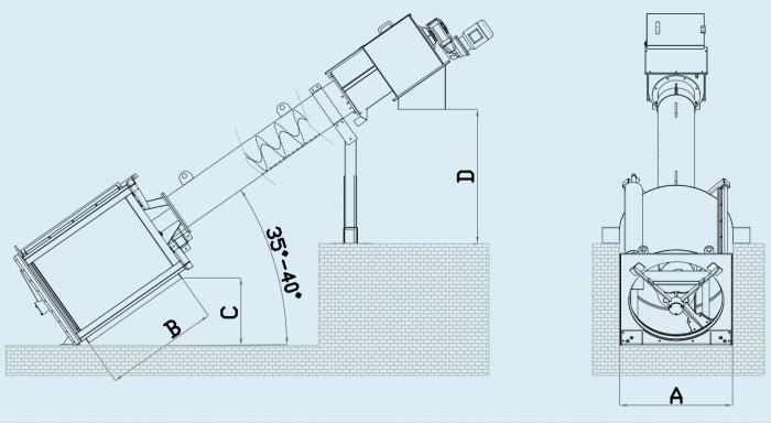 схема барабанной решетки в канале (с уплотнителем)