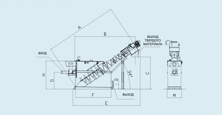 схема комбинированной установки для приема сточных вод после ассенизаторских машин (без жироуловителя)