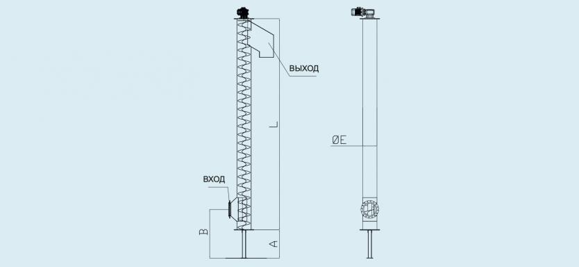 схема вертикального шнекового безвального конвейера